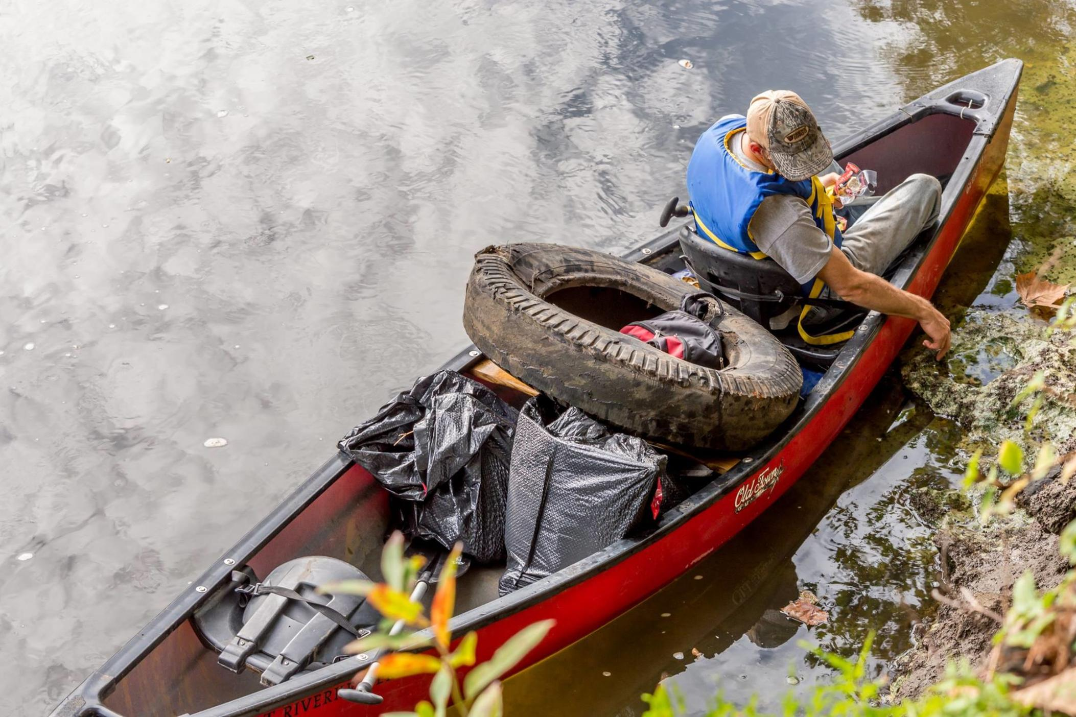 Kayak with Trash